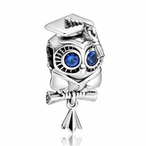 NEW•Silver Graduate Owl DIY charm/bead